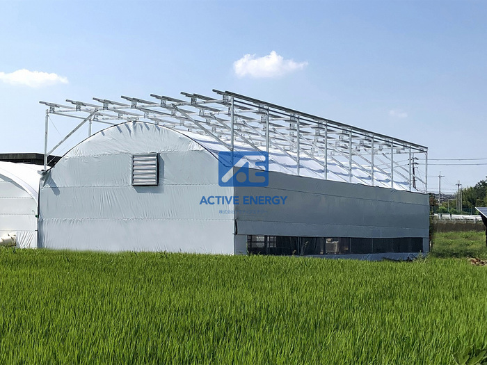 ソーラーシェアリングの大型鉄骨ハウスモデルの図
