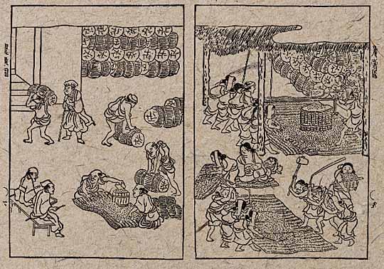 江戸時代のうす引きの風景
